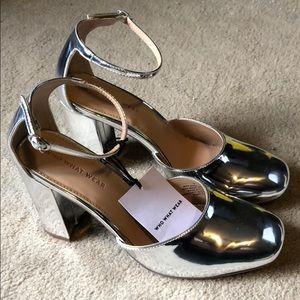 NWT Metallic Silver Block Heels